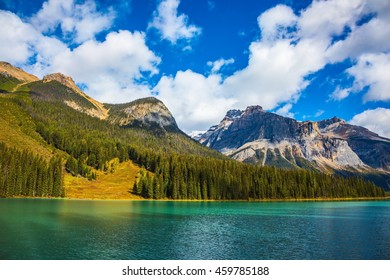 The emerald-green lake surrounded by a pine forest. Magic Emerald lake in Canada