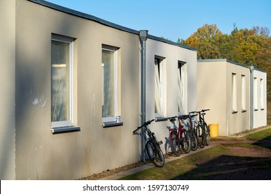 Emergency accommodation for refugees at the edge of the city of Magdeburg in Germany