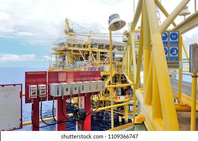 Emergency alarm station at an offshore oil platform