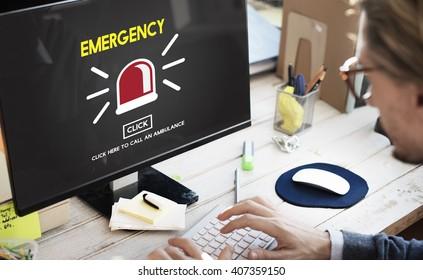 Emergency Ambulance Alarm Alert Concept