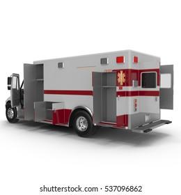 Emergency ambulance car with opened dors isolated on white. Rear view. 3D Illustration