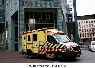 An Emergency Ambulance Stationary in Rotterdam, Netherlands on April 14, 2018