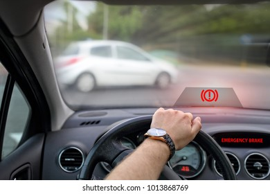 emergency braking to avoid collision in the car