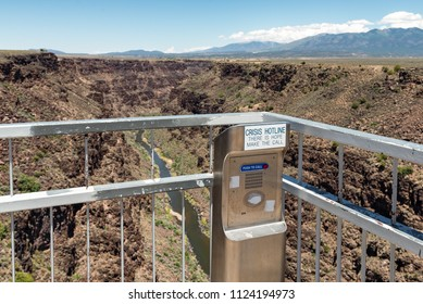 Emergency Crisis Call Box on the Rio Grande Gorge Bridge Walkway.
