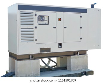 Emergency electric power generator box on white background