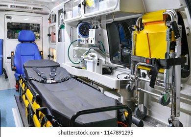 Emergency equipment and devices, Ambulance interior details.