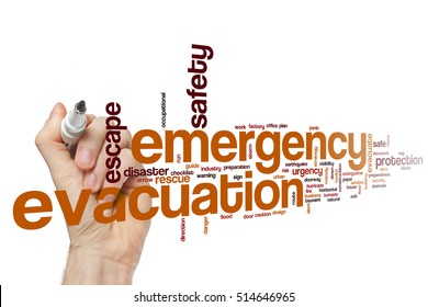 Emergency evacuation word cloud concept