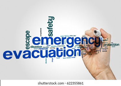 Emergency evacuation word cloud concept on grey background.
