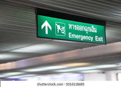 Emergency Exit in the building Green exit sign