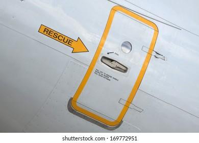 Emergency exit door of a plane