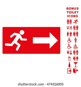 Emergency Exit icon and bonus gentleman and lady restroom symbols. Glyph illustration style is flat iconic symbols, red color, white background.