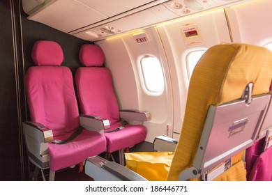 Emergency exit on an aircraft, view from inside of the plane