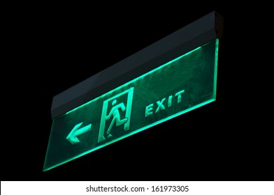 Emergency exit sign in modern offices inside an industrial plant,china