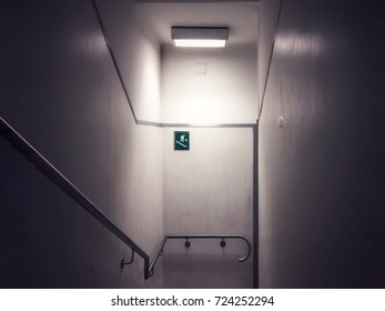 Emergency exit sign on a staircase