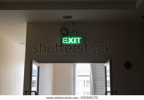 Emergency Exit Sign Text Light Box Stock Photo (Edit Now) 550340170