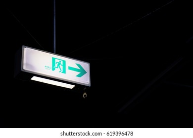 Emergency exit sign of underground facilities.