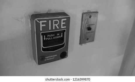Emergency of Fire alarm system notifier or alert or bell warning equipment use when on fire (Manual Pull Station) and fireman's phone jack.