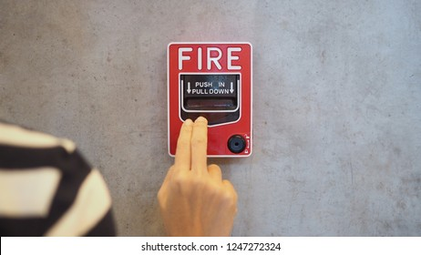 Emergency of Fire alarm system notifier or alert or bell warning equipment use when on fire (Hand Pull Station).