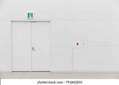 emergency fire exit door white clean new fire extinguisher fire alarm