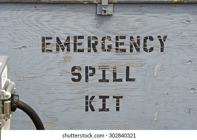 Emergency fuel spill kit at a ocean commercial fishing pier fuel fill station