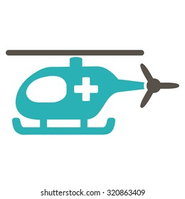 Emergency Helicopter glyph icon. Style is bicolor flat symbol, grey and cyan colors, rounded angles, white background.