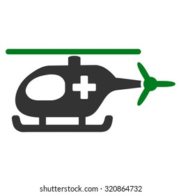 Emergency Helicopter glyph icon. Style is bicolor flat symbol, green and gray colors, rounded angles, white background.