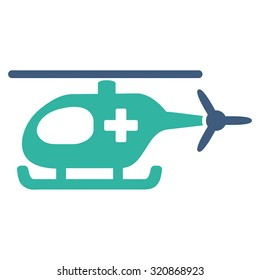 Emergency Helicopter glyph icon. Style is bicolor flat symbol, cobalt and cyan colors, rounded angles, white background.