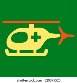 Emergency Helicopter glyph icon. Style is bicolor flat symbol, orange and yellow colors, rounded angles, green background.