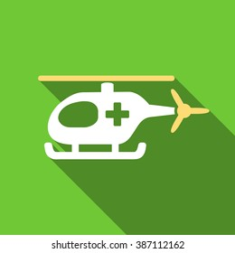 Emergency Helicopter long shadow raster icon. Style is a flat symbol with rounded angles on a green square symbol.