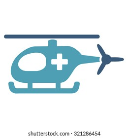 Emergency Helicopter raster icon. Style is bicolor flat symbol, cyan and blue colors, rounded angles, white background.
