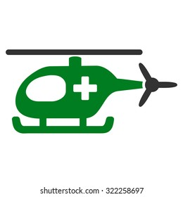 Emergency Helicopter raster icon. Style is bicolor flat symbol, green and gray colors, rounded angles, white background.