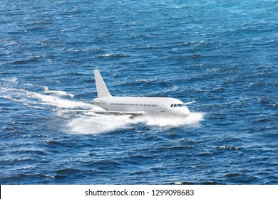 Emergency landing of the airplane on water with splashes. Concept of aircraft rescue, flight safety.