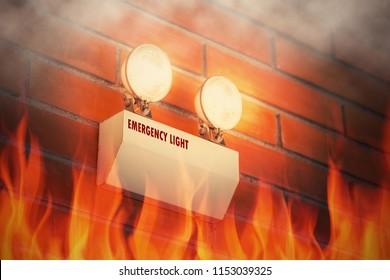 emergency light inside fire building working
