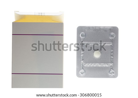 Emergency oral contraceptive pill box and blister pack isolated on white background