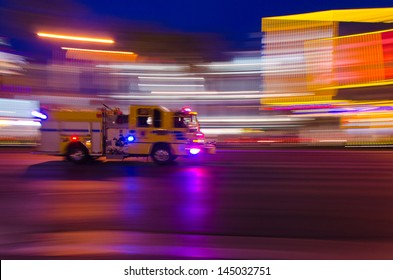 Emergency response - fire truck rushes down Las Vegas Boulevard