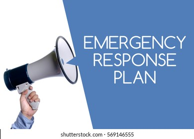 Emergency Response Plan. Hand with megaphone / loudspeaker. Health and safety at workplace concept.