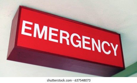 EMERGENCY ROOM SIGN.  Overhead sign outside the ER.