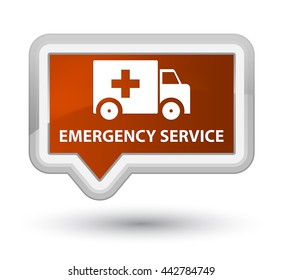 Emergency service brown banner button