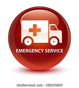 Emergency service glassy brown round button