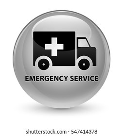 Emergency service glassy white round button