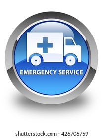 Emergency service glossy blue round button