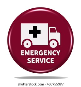 Emergency service icon. Internet button . 3d illustration