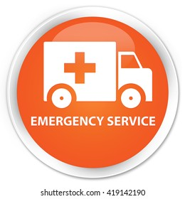 Emergency service orange glossy round button