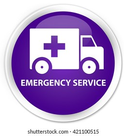 Emergency service purple glossy round button