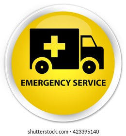 Emergency service yellow glossy round button