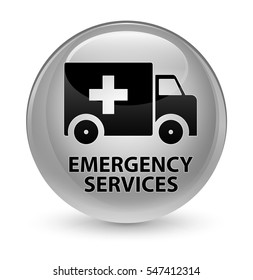 Emergency services glassy white round button