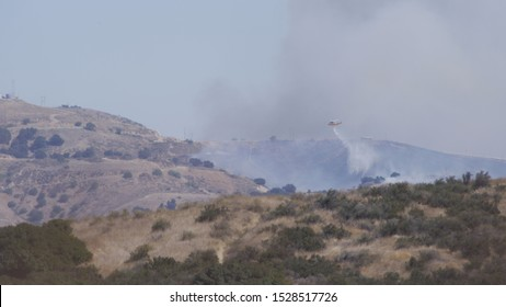 Emergency Services Helicopter  Saddleridge Fire Los Angeles County Near Santa Clarita, Porter Ranch, Sylmar California Wildfire