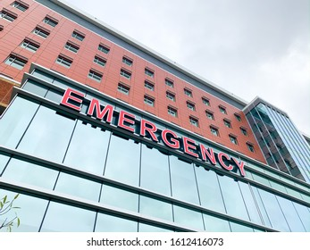Emergency Sign on the side of a Hospital
