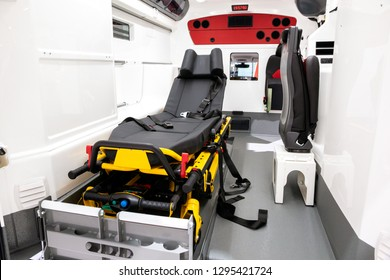 Emergency stretcher in a new delivered EMS ambulance.
