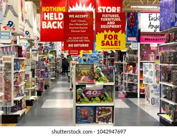 Emeryville, CA - March 10, 2018: Emeryville Toys R Us closing sale. Bankrupt retailer Toys R Us may shut all its US stores as soon as next week, according to several reports.